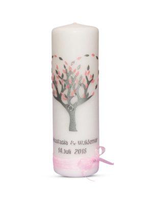 hochzeitskerze lebensbaum herz rosa mit schleifen (1)-min