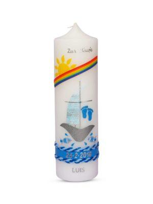 taufkerze-kommunionkerze-konfirmationskerze-mädchen-junge-schiff-regenbogen-blau-silber-kreuz-füße-fisch (1)