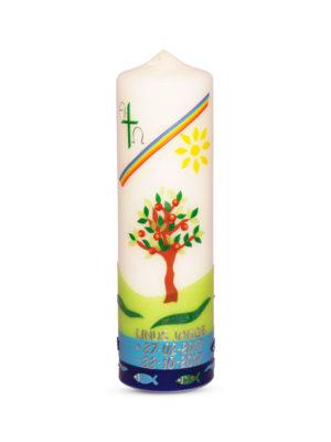 taufkerze-mädchen-junge-lebensbaum-apfelbaum-regenbogen-grün-blau-kommunionkerze (1)