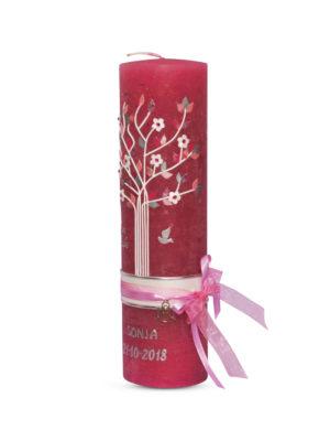 vintage-taufkerze-vintage-grau-kommunionkerze-lebensbaum-mädchen-beeren-farbe-bordeaux-altrosa,-rosa-rustik-kerze (3)