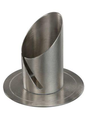 Kerzenleuchter Kerzenständer silberfarben für Kerzen Ø 4cm, 40mm Röhre seitlich offen, Metall Messing vernickelt, Silber matt gebürstet, Kerzenhalter für Altarkerze Taufkerze Kommunionkerze